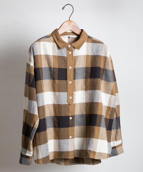 コットンネルボックスシャツ
